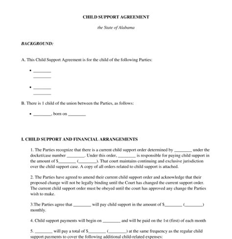 Child Support Agreement Free Template Word And Pdf Child Support Agreement Template Pdf