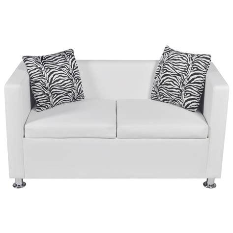 White Leather Two Seater Sofa Artificial Leather 2 Seater Sofa White Vidaxl
