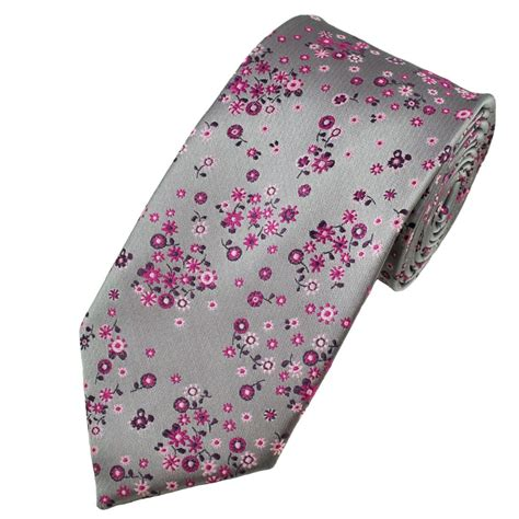 silver pink floral patterned s tie from ties planet uk
