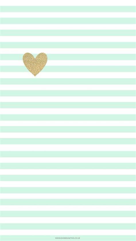 girly mint wallpaper mint green stripes and gold heart cute phone wallpaper