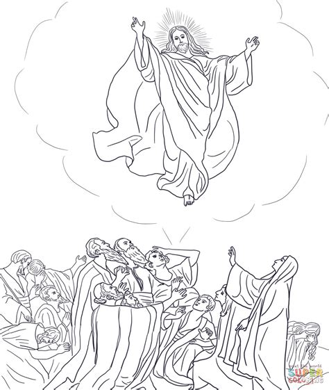 coloring pages ascension of jesus jesus ascends to heaven coloring page free printable