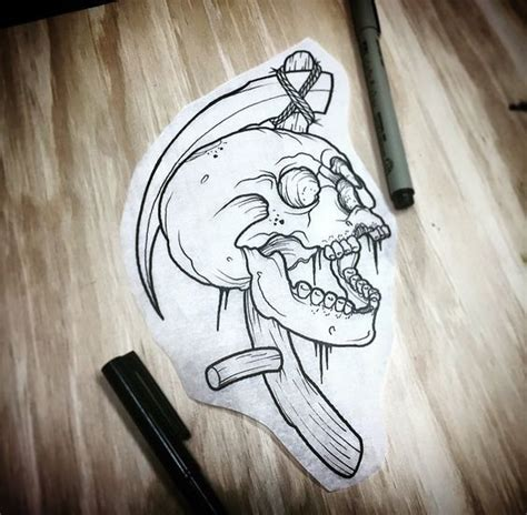 scythe tattoo skull and scythe and more
