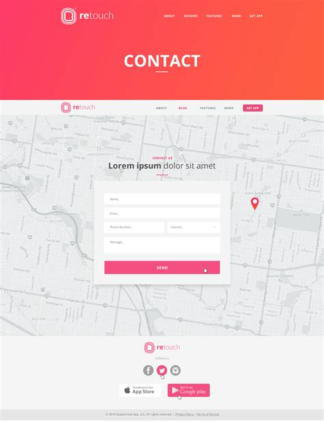 themeforest contact retouch app app html template by darwinthemes themeforest