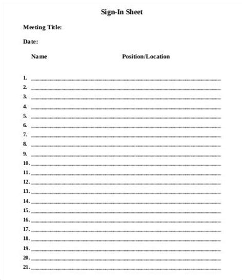 meeting sign in sheet template 9 free word pdf