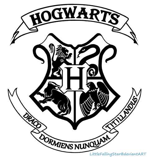 Hogwarts Acceptance Letter Logo Hogwarts Crest Black And White Sketch Coloring Page