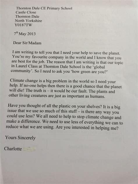 Letter Essay may 2013 thornton dale school