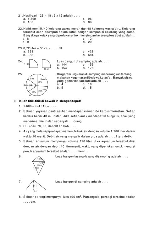 soal ujian sd kelas 6 bahasa indonesia soal bahasa inggris soal latihan matematika kelas 6