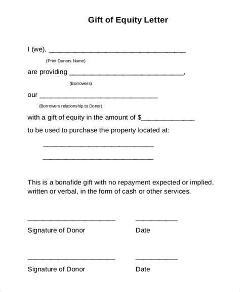 Gift Letter Document Sle Gift Letter 9 Exles In Word Pdf
