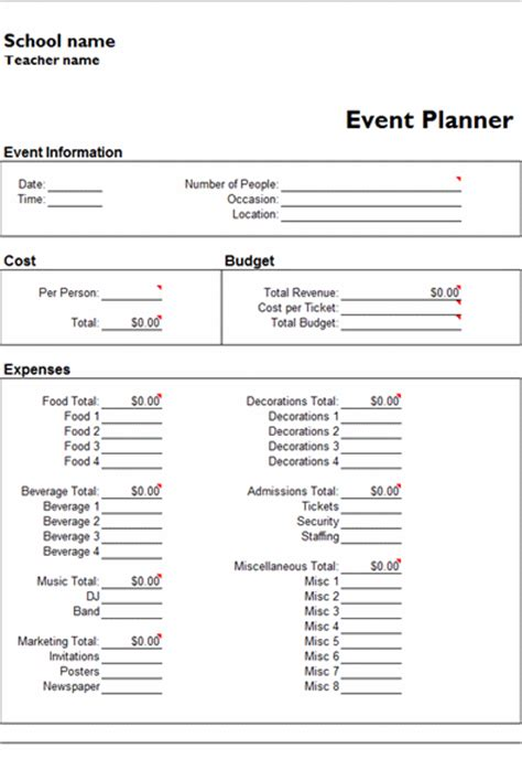 Free Event Template free event planner template calendar template 2016