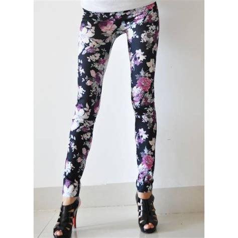 flower design leggings purple flower graffiti leggings look black l5449