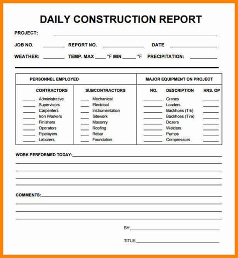 5 daily progress report format construction project