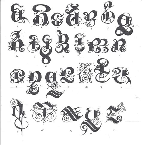 gothic letters tattoo designs script alphabet by izjhafere on deviantart