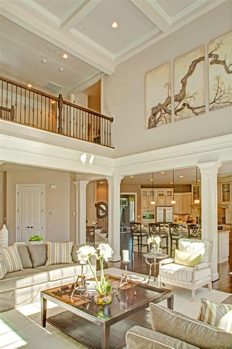 2 story living room two story family room with coffered ceiling google