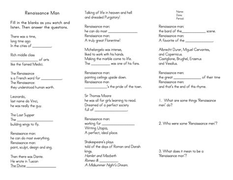 The Renaissance Worksheet Answers by Renaissance Reformation Ms Landry S Room Hbss