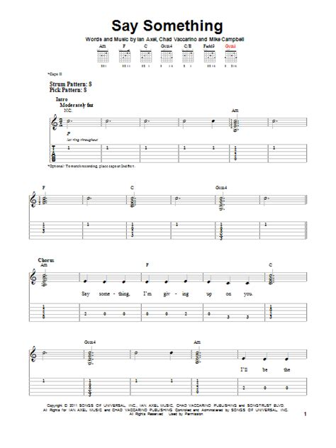 say something keyboard tutorial easy say something by a great big world easy guitar tab