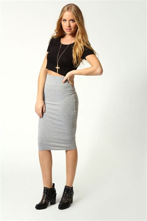maddie jersey midi length skirt at boohoo need