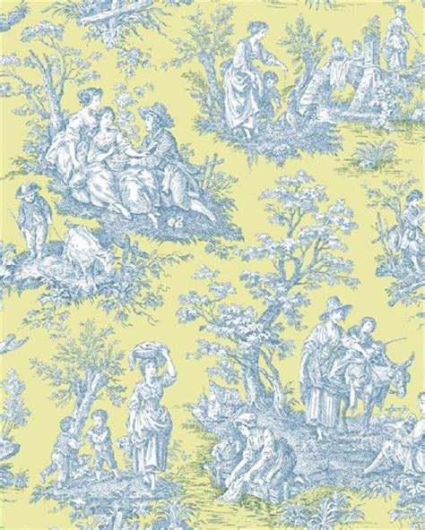 wallpaper toile blue wa7833 waverly classics blue and yellow country life
