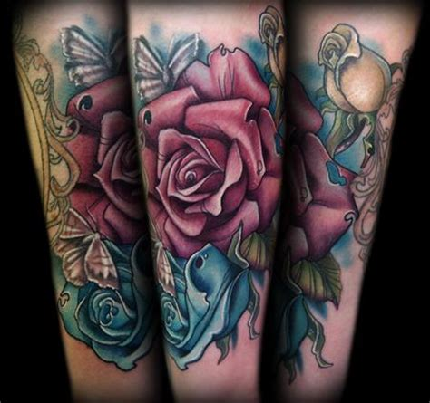 red white and blue rose tattoo blue and moth