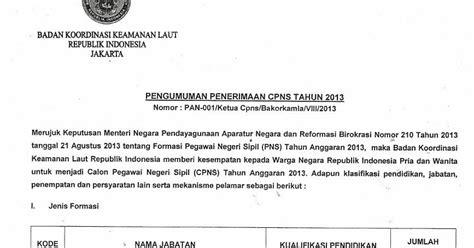 kumpulan contoh surat penerimaan cpns 2013 bakorkamla
