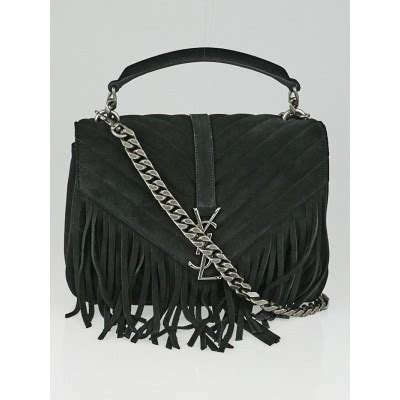 yves saint laurent black suede monogram fringe college