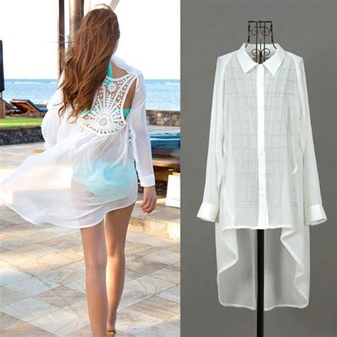 Cover 9 Blouse Putih summer lace floral swimwear cover up