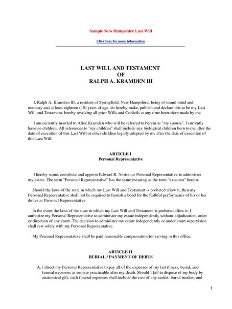 sle of a last will and testament template last will and testament template free printable documents