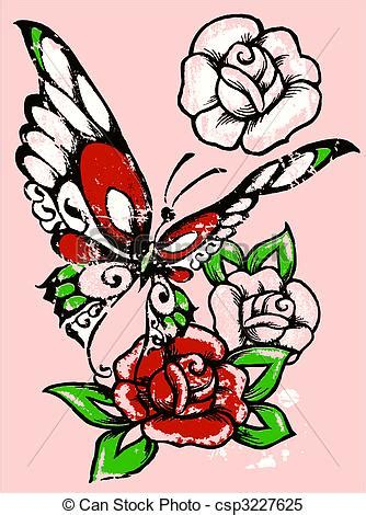 clipart vector of tribal rose and butterfly csp3227625