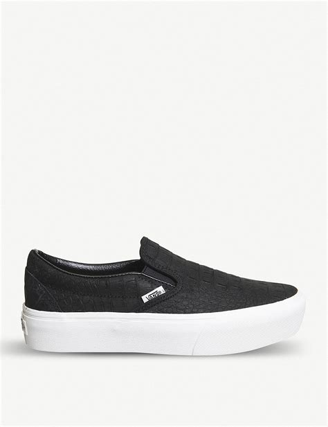 Platform Canvas Slip Ons vans slip on platform canvas trainers in black lyst