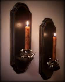 vintage colonial candle sconce pair wooden wall decor by