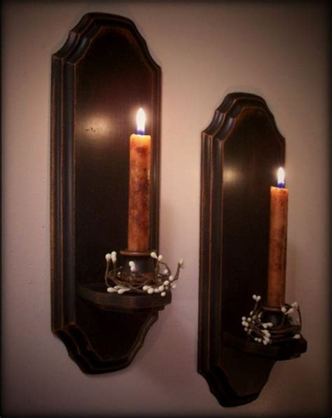 Colonial Candle Sconces vintage colonial candle sconce pair wooden wall decor candles