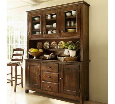 pottery barn china cabinet benchwright buffet hutch rustic mahogany stain