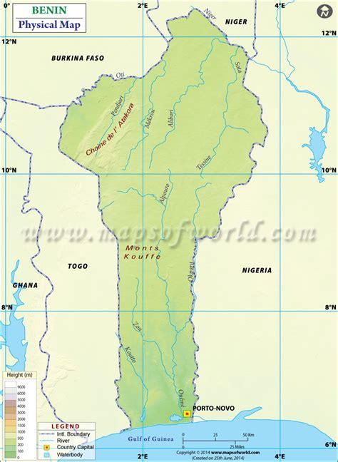 benin physical map physical map of benin