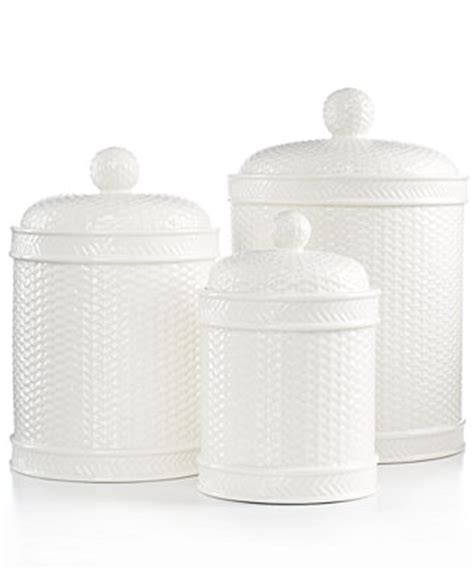martha stewart kitchen canisters martha stewart collection set of 3 whiteware basketweave canisters serveware dining