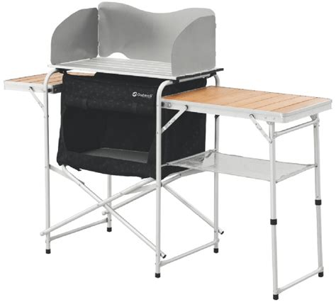 outwell vancouver folding portable kitchen table bamboo