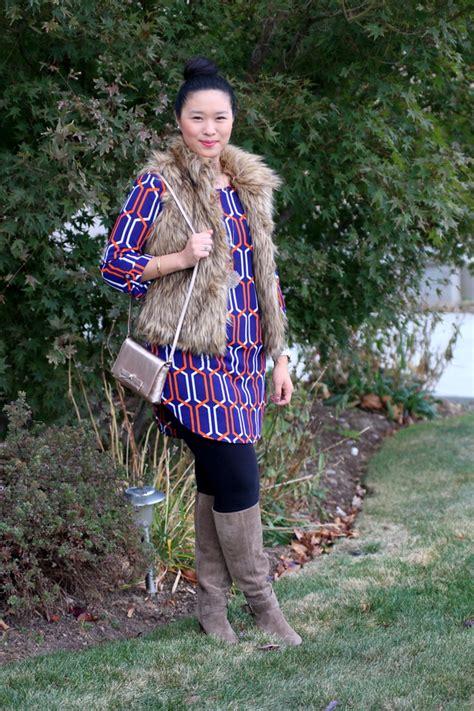 Amara Vest Tunic shift dress and fur vest sandyalamode