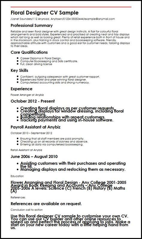 floral designer resume sle resume floral designer thesistemplate web fc2