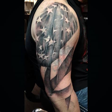 black and white flag tattoo american flag shoulder veteran ink