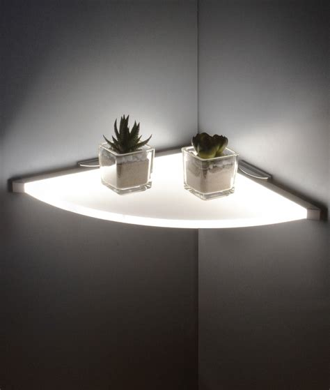 Led Shelf Lighting by Led Illuminated Corner Shelf Energy Efficient