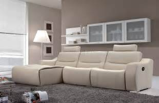 Modern Sofa Recliners White Leather 2143 Modern Reclining Sectional Sofa By Esf