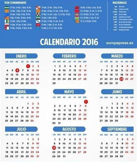 fechas de semana santa 2016 calendario laboral espa 241 a 2016 festivos puentes y semana