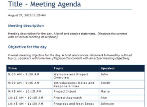 Template Gallery Free Meeting Agenda Template Microsoft Word