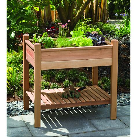 Raised Herb Planter Box by Wood Raised Planter Box With Storage For Small Backyard