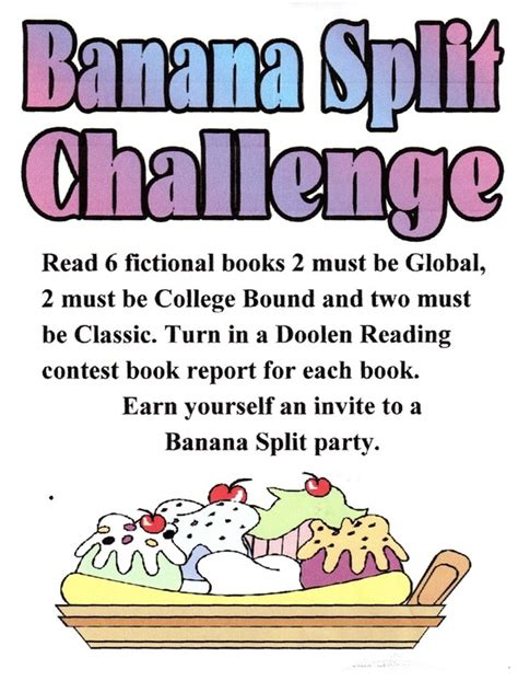 banana split challenge banana split challenge doolen middle school library