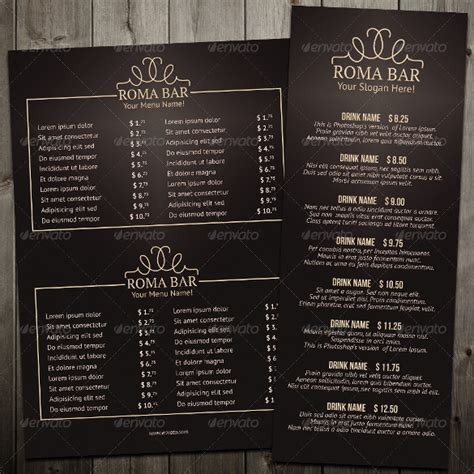 bar menu templates 24 bar menu templates free sle exle format