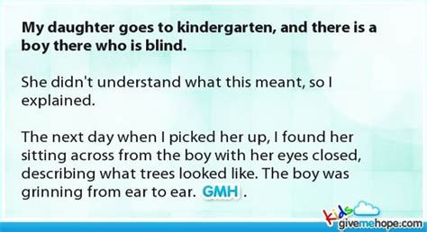 My Child Is Blind My Daughter Goes To Kindergarten And There Is A Boy There