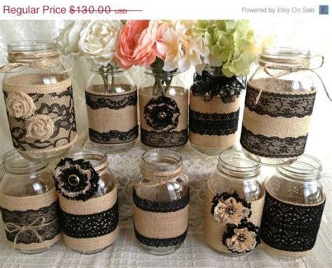 3 DAY SALE 10x Rustic Burlap And Black Lace Covered Mason Jar Vases Wedding Decoration, Bridal