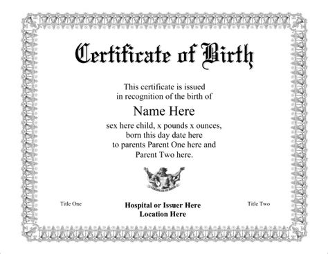 birth certificate templates free birth certificate not official template helloalive