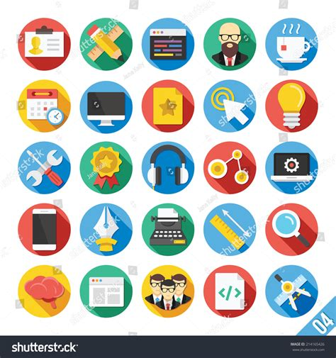 round vector flat icons set long stock vector 214165426