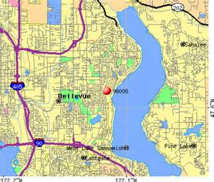 Bellevue Zip Code Map by Bellevue Washington Map