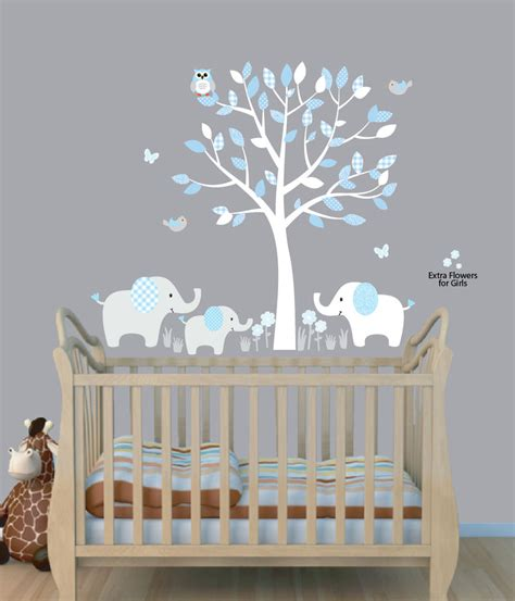 Elephant Curtains For Nursery Elephant Tree Nursery Sticker Decal Boys Room Wall Decor Elephant Wall Ebay